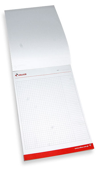 An example of a checkered note pad with a logo, glued on top.